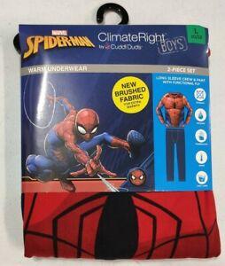 Marvel Spiderman 2-Piece Thermal Underwear Pajama Set Size Large 10/12
