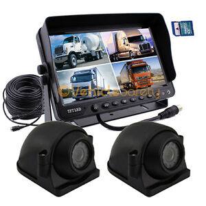 """2 x Side Camera 9"""" Monitor with DVR Backup System Safety for Truck Trailer RV"""