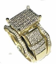 0.55ct Diamond Bridal Wedding Ring Set 10K Gold Extra Wide Engagement & 2 Bands