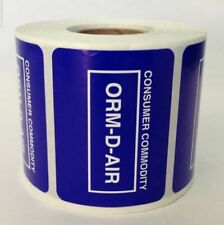 "Other Regulated Material Labels Orm-D-Air/Consumer Commodity (2""x1.5"", 500/Roll)"