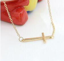 UK Seller Beautiful Gold Tone Horizontal Sideways Cross Pendant Necklace