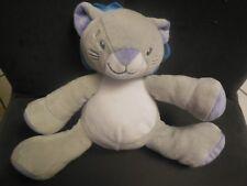 351/ doudou peluche lion chat gris bleu violet mauve LUC ET LEA