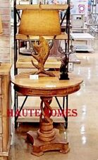 NEW LODGE PLANTATION ROUND TWISTED MANGO Wood CARVED COTTAGE END ACCENT Table