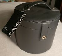 Sonia Kashuk Round Valet Case Black Hard Shell Mirror Side Organization Pockets