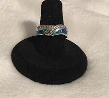Estate Blue Fire Opal w/ cz's Women's Or Men's Sterling Silver Ring sz 7 1/4