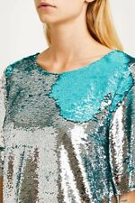 Paul & Joe Sequin Top Silver & Blue  Size 1  New With Tags