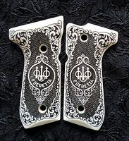 Beretta 92 92FS 96 custom engraved ivory scrimshaw grips Trident Checkered