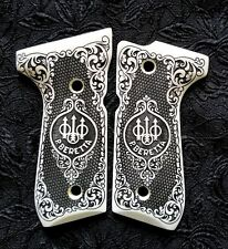 Beretta 92 92FS 96 custom ivory scrimshaw pistol grips Scroll Trident Checkered