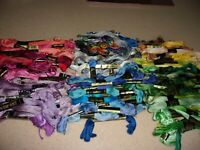 LOT 100 plus  embroidery floss DMC Lily CB Nu-Nuns  red blue gold green purple