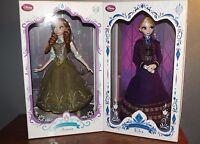 "Disney Store Limited Edition Designer Series Frozen Anna & Elsa LE 5000 17"" Doll"