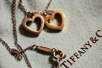 "Tiffany & Co. Double Heart 18k Gold Sterling Silver Pendant Necklace, 16"" chain"