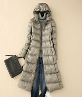 Womens Outwear Hooded Full Length Slim Puffer Down Coat Long Warm Parka Jacket