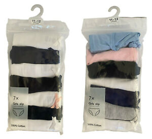 Pack of 7 Briefs Cotton Pants Knickers, Plain, Multicolour Underwears for Girls