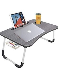 Large Foldable Bed Tray Lap DeskPortable Lap Desk with Tablet & Phone Slots