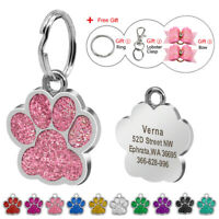 Glitter Paw Shape Engraved Dog Tags Disc Pet ID Name Collar Tag Pendant Gift Bow