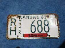 VINTAGE ORIGINAL KANSAS 1963 RH 688 Truck License VEHICLE Tag Man Cave Reissue.