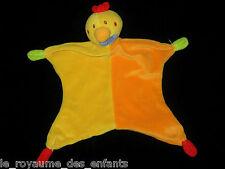 Doudou plat Poule Coq Poussin Oiseau Canard jaune orange rouge Paradise Toys