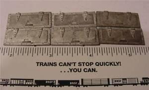 Caboose Tool Box Lids - (6) - T-13 - Cast Metal - Train Craft - O Scale