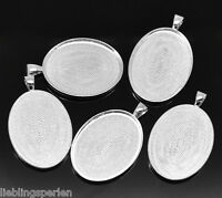 5 Versilbert Oval Rund Medaillon Fassung Anhänger 5x3.2cm (Für 40x30mm)