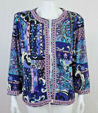 JOAN RIVERS Moroccan Flair Print 3/4 Sleeve Open Front Jersey Knit Jacket LARGE