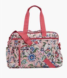 Vera Bradley Weekender Travel Overnight Bag Lighten Up Pink Stitched Garden NWT