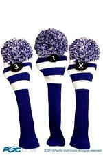 1 3 X Classic BLUE WHITE KNIT POM golf club vintage Headcover Head covers Set