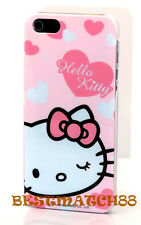 for iphone 5 5s hello kitty white pink bow heart hard back case cover/