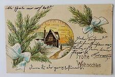 17628 Kitsch Präge AK Frohe Weihnachten Häuschen Tannenzweige 1906 PC chrismas