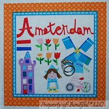 BonEful Fabric Cotton Quilt Block Square Amsterdam Holland S Windmill Dutch Girl