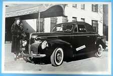 """12 By 18"""" Black & White Picture 1940 Mercury Convertible Top Up"""