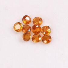 1.40 Cts Natural Hessonite Round Cut 3 mm Lot 9 Pcs Gemstones