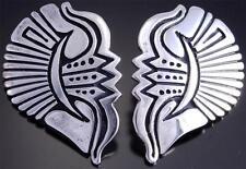 Stephen Begay Silver Traditional Contemporary Navajo Half-Heart Earrings - VN70O