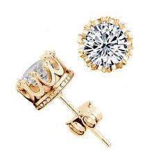 Espiga de Redondo 7mm Enchapado en Oro Pendiente Diamante Piedra Oreja Pasador