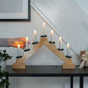 40cm Christmas Wooden Battery Power Candle Bridge Arch Light | Wreath Pinecones