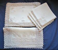 Antique Placemat Set, Reticella Needlework lace, Mats, Napkins, Runner 15 Pcs
