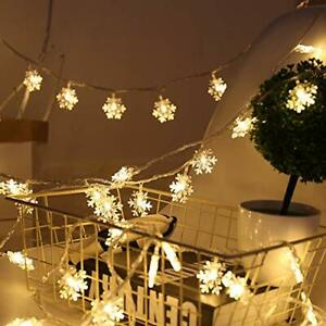 30 Led Snowflake Led Fairy Lights With Remote Control Timer Battery Powered Sno