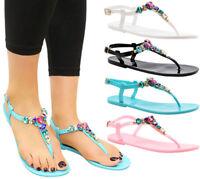 Ladies Womens Summer Beach Sliders Flip Flop Diamante Sandals Jelly Shoes Size