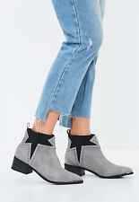 New Missguided Ankle Boots Size 3 Studded Star Grey Black Western Chelsea BNIB
