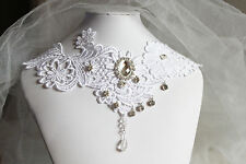 White Lace Choker Cosplay Wedding Vintage Gothic Crystal Drop Necklace Collar