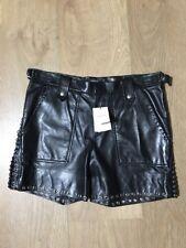 NOUVEAU! £ 1575 ISABEL MARANT Noir brodile Agneau Cuir Light Shorts UK 14 42 argent