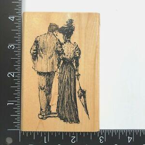 Inkadinkado Victorian Couple Walking Wood Mounted Rubber Stamp 90336X Man Woman