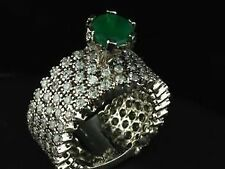 Natural EMERALD & Cubic Zirconia Ring Pure 925 Sterling Silver High Quality