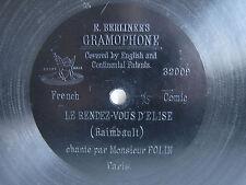"78rpm E. BERLINER GRAMOPHONE 7"" - MONSIEUR POLIN sings LE RENDEZ-VOUS D'ELISE"