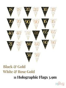 Birthday Flag Bunting Triangle Banner Home & Garden Decorations for age 16 to 90