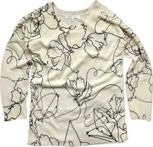 NEW NEXT WOMENS COSY SOFT CREW NECK MONO FLORAL PRINT JUMPER SWEATER 6/22 £12.99