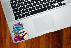 """CLR:TP - Books - Stained Glass Vinyl Trackpad Decal (Opaque) ©YYDC (2.5""""w x3""""h)"""