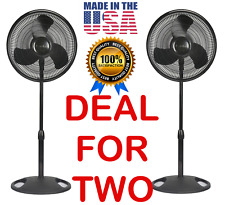 2 Lasko Fans Oscillating Pedestal Floor Stand 3 Speed Black Air Quiet Adjustable
