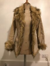 Cream Beige Real Suede Jacket Coat With Faux Fur Trim Morgan Size 10/12