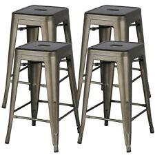 4 x Tabouret de Bar Industriel Chaise de Bar 61 cm H Bistro Cuisine Salon Metal