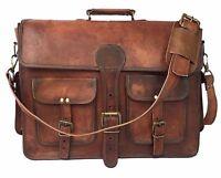 NEW Men's Leather Business Messenger Laptop Shoulder Briefcase Brown office bag